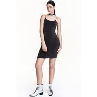 H&M Krótka sukienka na ramiączkach 0429273006 Czarny/Srebrny