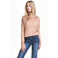 H&M Cienki sweter 0459889002 Beżowy