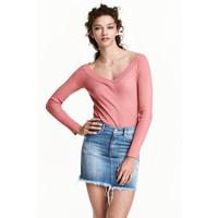 H&M Sweter z odkrytymi ramionami 0446404003 Wrzosoworóżowy