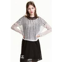 H&M Sweter o splocie w prążki 0468709001 Szary