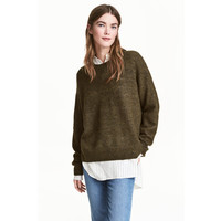 H&M Sweter oversize 0448193003 Zieleń khaki melanż