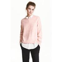 H&M Sweter oversize 0448193005 Jasnoróżowy melanż