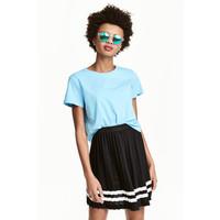 H&M Szeroki T-shirt z bawełny 0478176003 Turkusowy