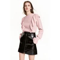 H&M Sweter z falbanami 0499182001 Jasnoróżowy