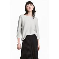 H&M Sweter o splocie w prążki 0411973005 Jasnoszary melanż