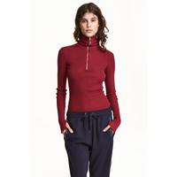 H&M Sweter z golfem i suwakiem 0484244001 Ciemnoczerwony