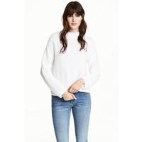 H&M Sweter w strukturalny splot 0479604001 Biały