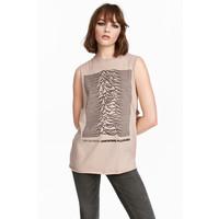 H&M Koszulka z nadrukiem 0257600013 Beżowy/Joy Division