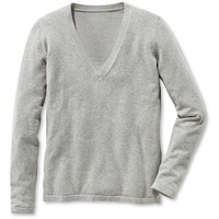 Tchibo Sweter z dekoltem w serek, jasnoszary nakrapiany 400074512