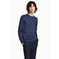 H&M Sweter z bawełny premium 0443638002 Granatowy melanż