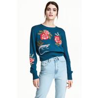 H&M Sweter z haftami 0491881003 Ciemnoniebieski/Kwiaty