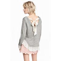 H&M Sweter z koronką 0424511002 Szary melanż