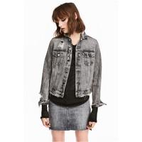 H&M Kurtka dżinsowa Trashed 0450195001 Czarny sprany