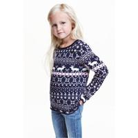 H&M Żakardowy sweter 0389967002 Ciemnoniebieski/Renifery