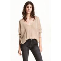 H&M Sweter z domieszką lnu 0484501003 Beżowy
