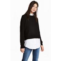 H&M Sweter z kołnierzykiem 0490243003 Czarny/Biały