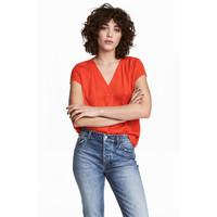 H&M Bluzka z dekoltem w serek 0479205004 Czerwony