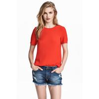 H&M Top z krótkim rękawem 0444261026 Czerwony