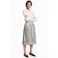 H&M Plisowana spódnica 0525428001 Srebrny