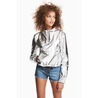 H&M Metaliczna kurtka anorak 0488096002 Srebrny