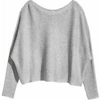 H&M Sweter o splocie w prążki 0494859001 Szary melanż