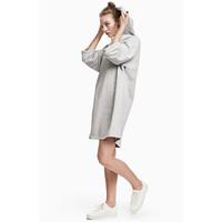 H&M Sukienka dresowa z kapturem 0507757005 Szary melanż