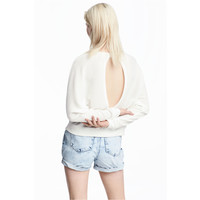 H&M Sweter w prążki 0509309002 Biały