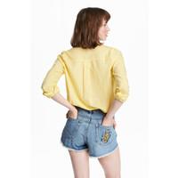 H&M Bawełniana koszula 0463285029 Żółty