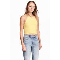 H&M Krótki top na ramiączkach 0377277009 Żółty