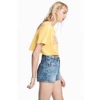 H&M Krótki T-shirt 0537018002 Żółty