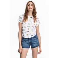 H&M Dżersejowy top z nadrukiem 0490793004 Biały/Palmy