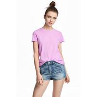 H&M Bawełniany T-shirt 0549480004 Fioletowy