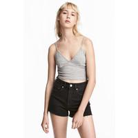 H&M Krótki top z dżerseju 0535600002 Szary melanż