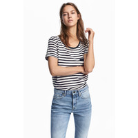 H&M Dżersejowy top w paski 0492221002 White/Black striped
