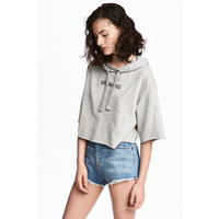 H&M Krótka bluza z kapturem 0557948002 Szary melanż