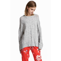 H&M Sweter 0502178003 Jasnoszary melanż