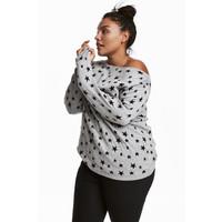 H&M H&M+ Cienki sweter 0292496021 Szary/Gwiazdy