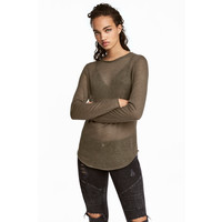 H&M Cienki sweter 0358483001 Zieleń khaki
