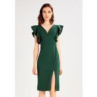 8ccfcfdddbe6ae WAL G. V NECK FRILL SLEEVE Sukienka etui dark green WG021C05D ...