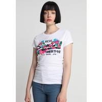 Superdry VINTGE LOGO TROPICAL ENTRY TEE T-shirt z nadrukiem sandstorm white SU221D16S