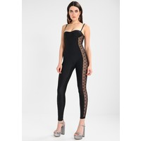 Jaded London BUSTIER CATSUIT WITH FLOCK SIDES Kombinezon black JL021T004
