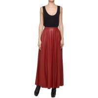 Filip Roth Czerwona spódnica ze skóry eko maxi