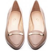 Gloss Shoes Baleriny w szpic ciemny beż