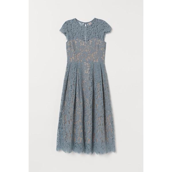 H&M Koronkowa sukienka do łydki 0732429004 Turkusowy
