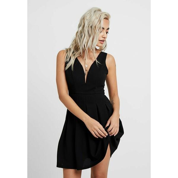 WAL G PETITE EXCLUSIVE V NECK MINI DRESS Sukienka z dżerseju black WAD21C007