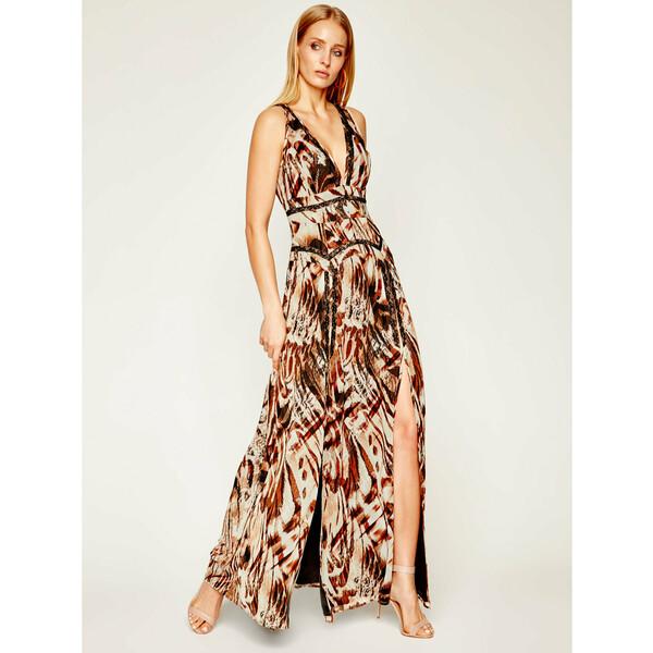 Marciano Guess Sukienka wieczorowa Printed Poly GGT 02G811 7068Z Brązowy Regular Fit