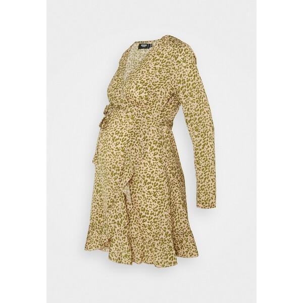 Missguided Maternity WRAP RUFFLE MINI DRESS Sukienka letnia pink M5Q29F010