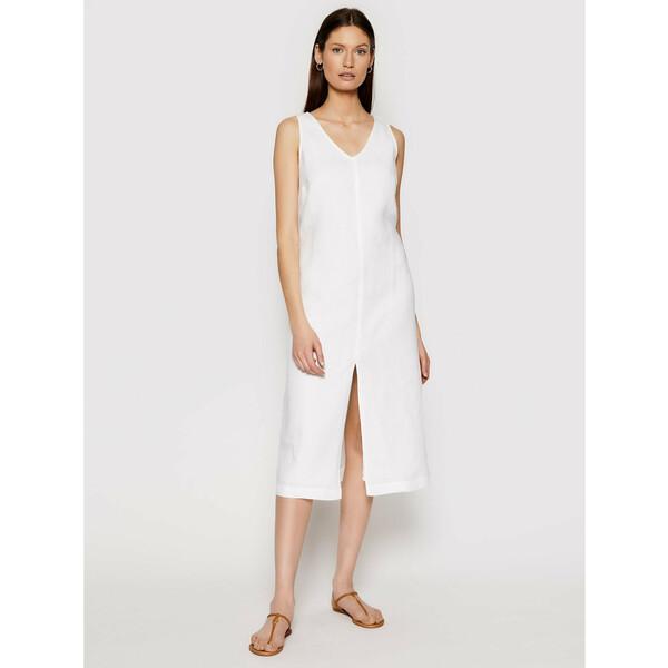 Seafolly Sukienka letnia Essential Linen 54361-DR Biały Relaxed Fit