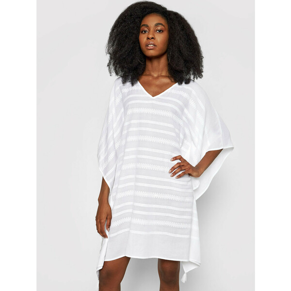 Seafolly Sukienka plażowa Geo Jacquard 54256-KA Biały Relaxed Fit