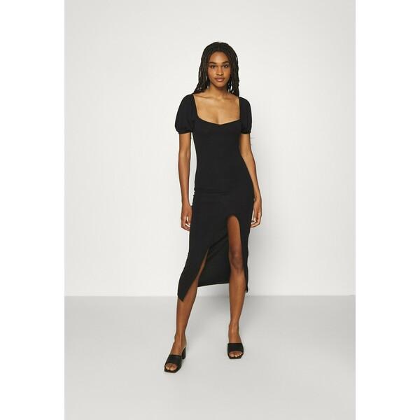 Missguided MILKMAID SPLIT DRESS Sukienka letnia black M0Q21C1WG